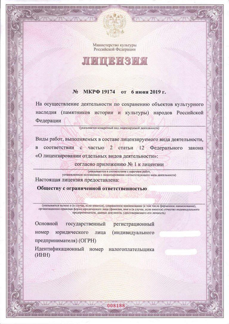 Лицензия КГИОП Альтернатива